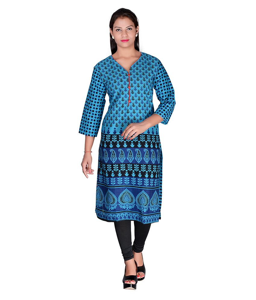 Teekraft Blue Cotton Straight Kurti
