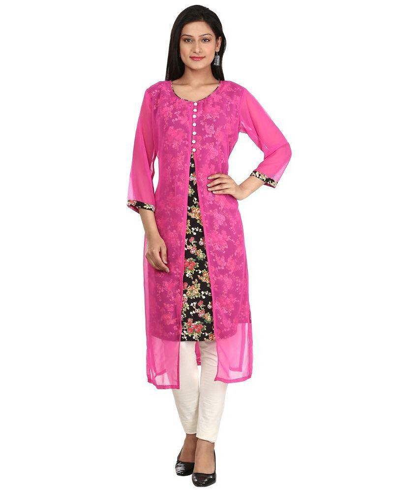 Lisara Fashion World Pink Georgette Straight Kurti
