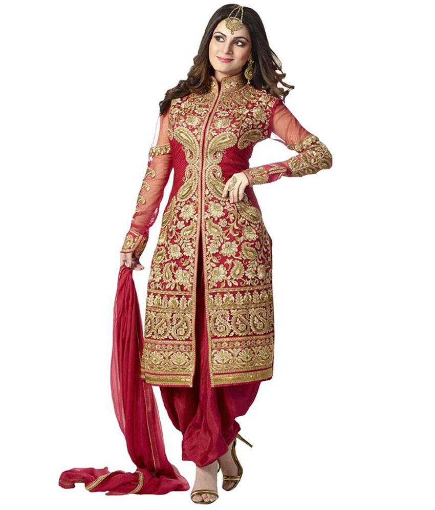 5ba38e04c1d Siddeshwary Fab Red Georgette Straight Semi Stitched Suit Price in India