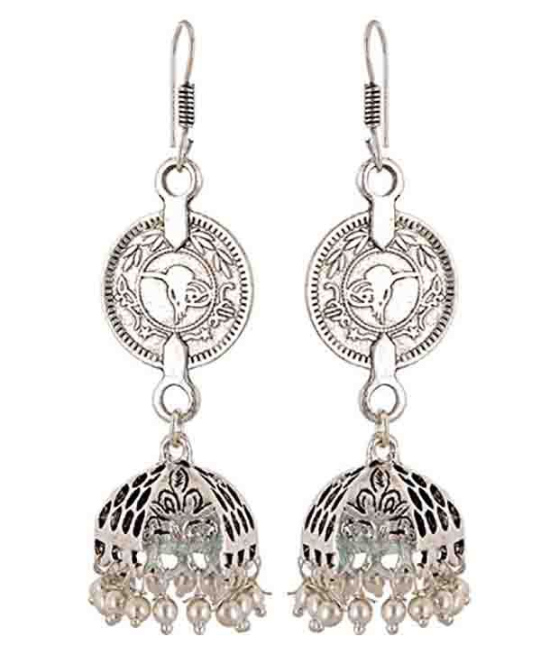 Subharpit Silver Alloy Hanging Earrings