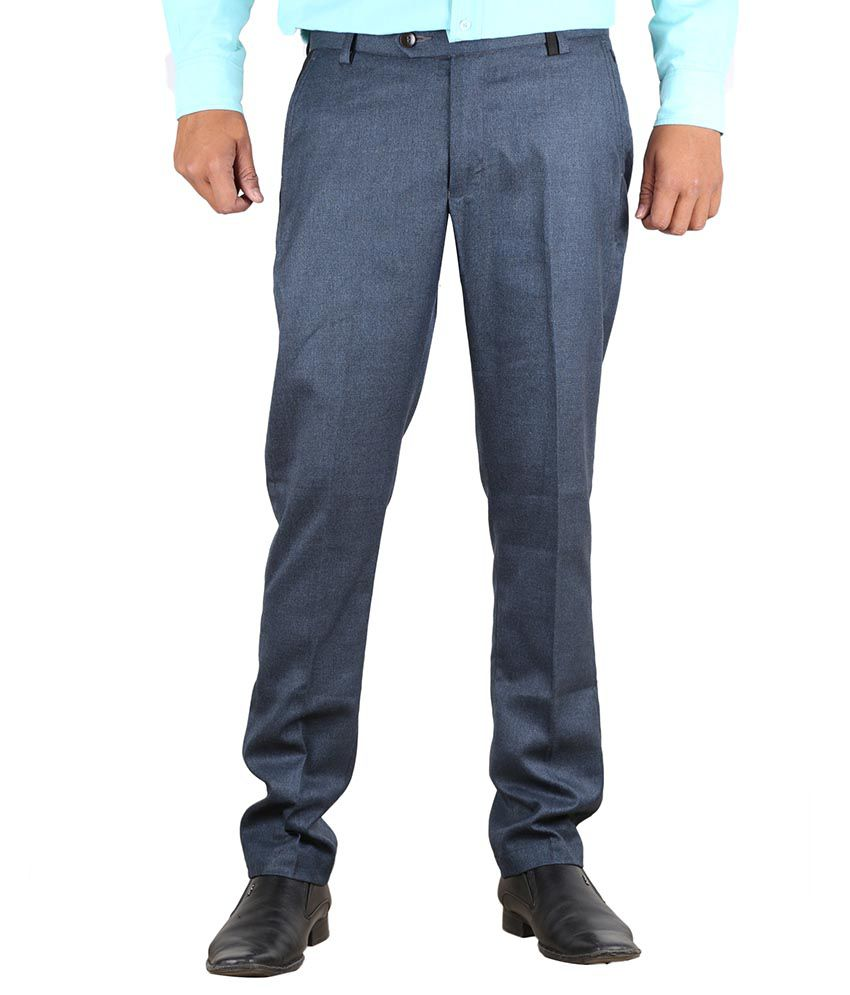 Vandnam Fabrics Blue Regular Fit Flat Trousers