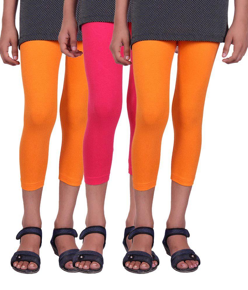 Alisha Multicolour Cotton Capri For Kids - Pack Of 3