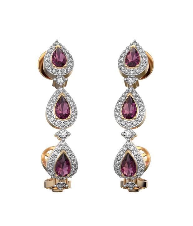 I Love Diamonds 18kt Gold Garnet Drop Earrings