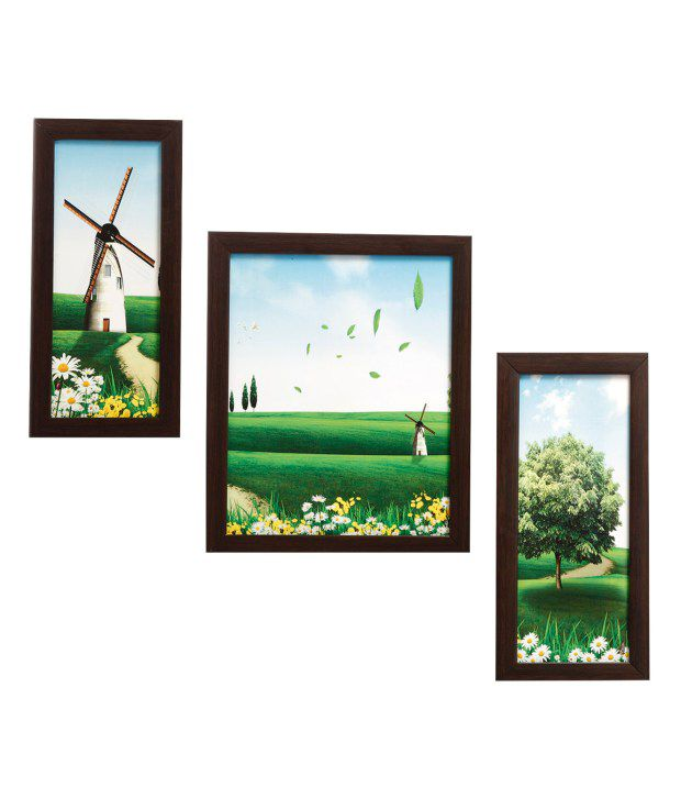 Indianara 3 Piece Set Of Framed Wall Art - Windmill