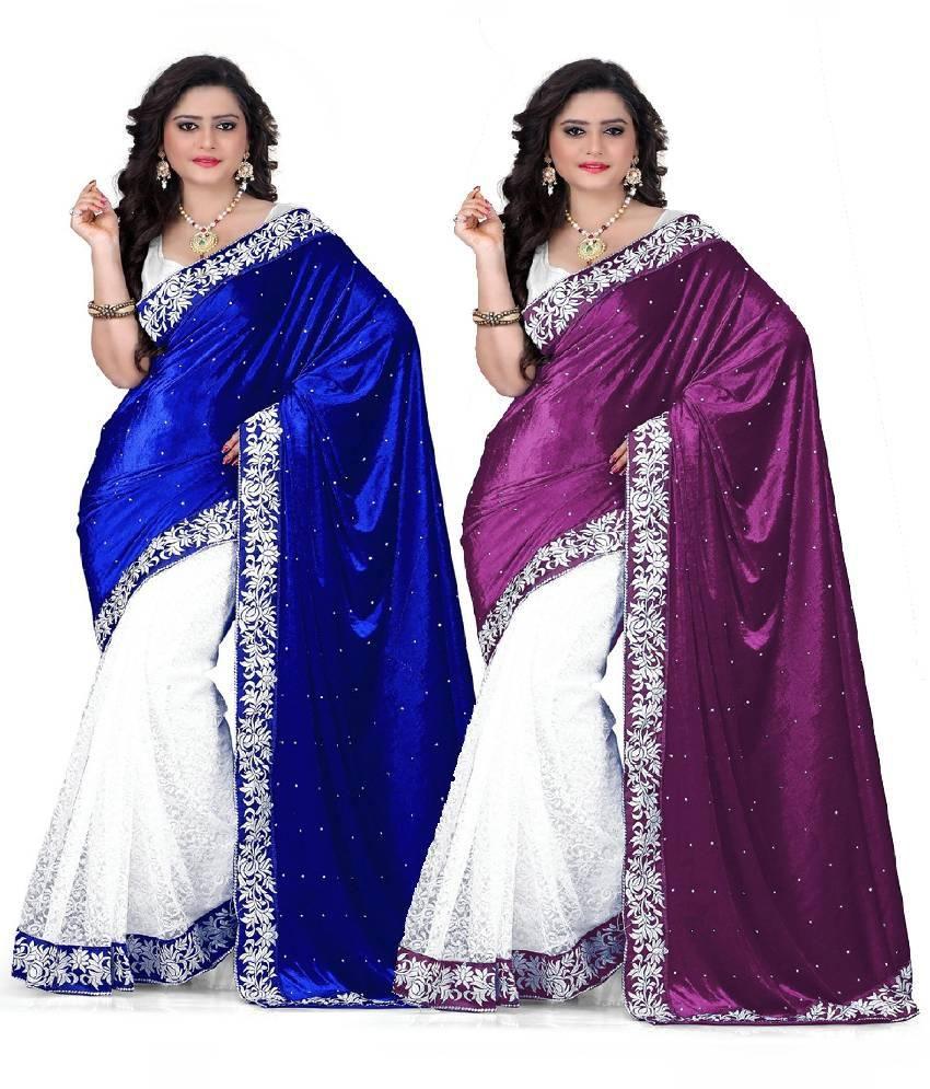 Kuki Multicoloured Velvet Saree Combos