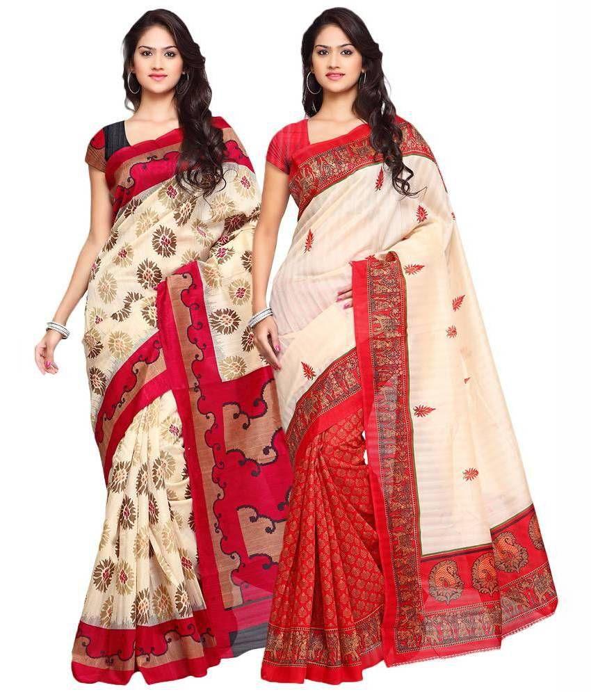 Prachi Silk Mills Multicoloured Art Silk Saree Combos