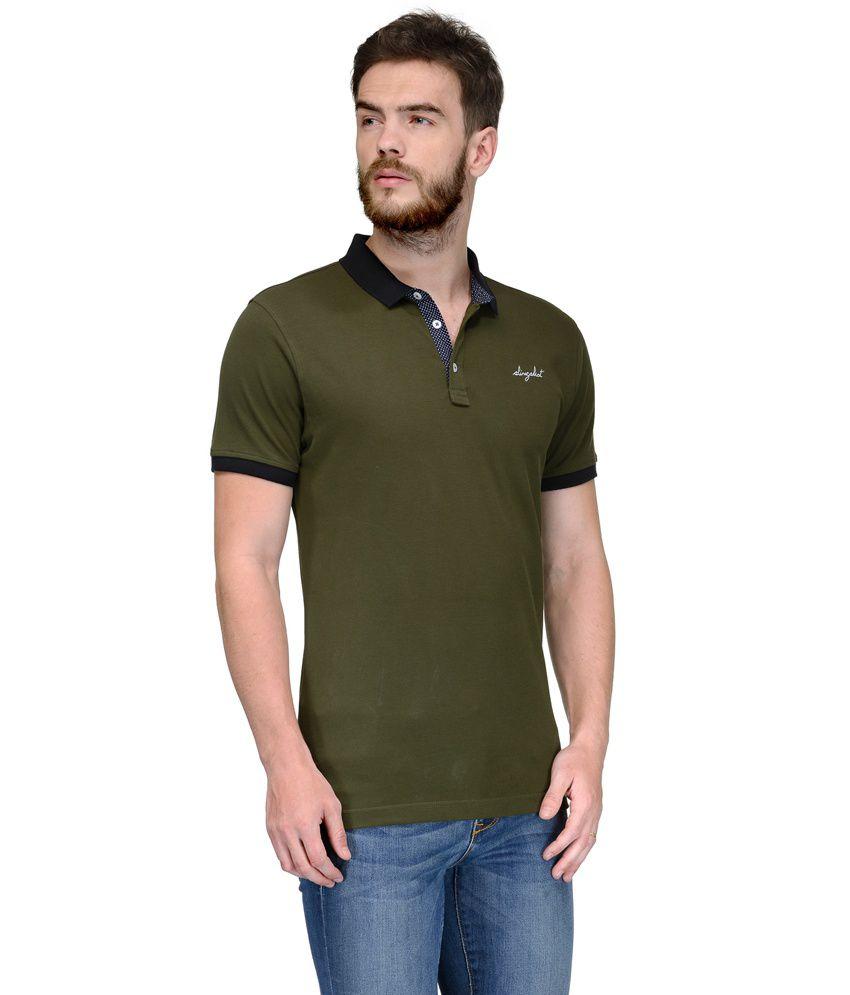 Slingshot Green Polo Neck T Shirt
