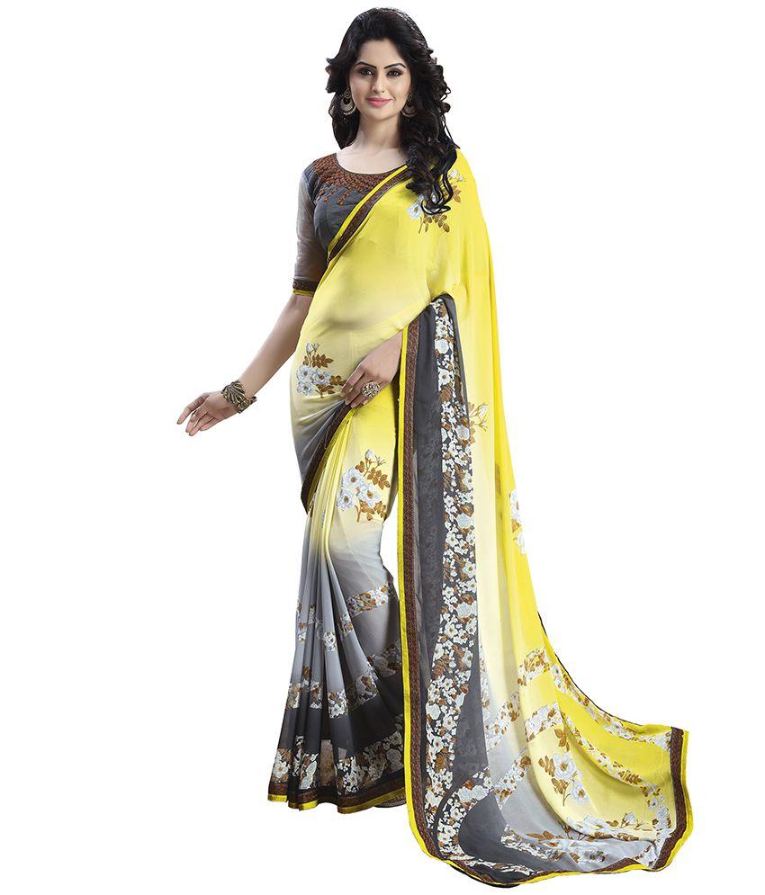 Varayu Yellow Georgette Saree