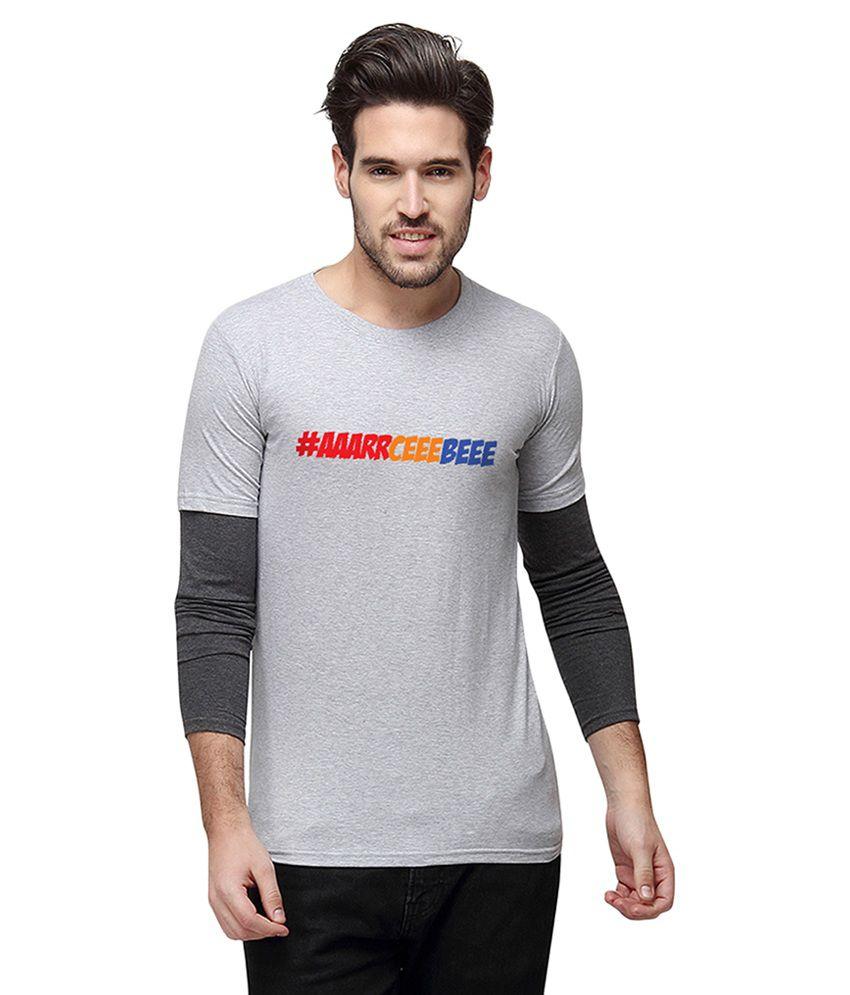 Campus Sutra Grey Round T Shirt