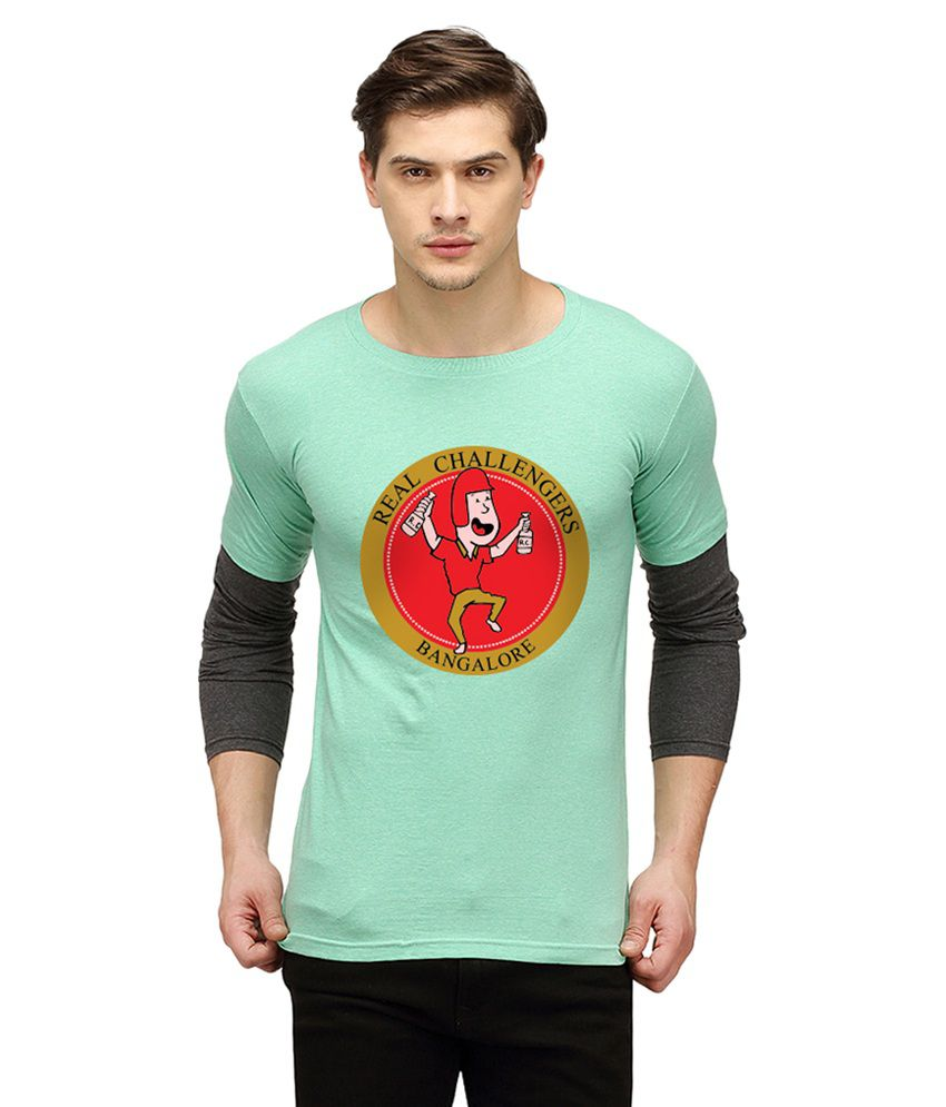 Campus Sutra Turquoise Round T Shirt