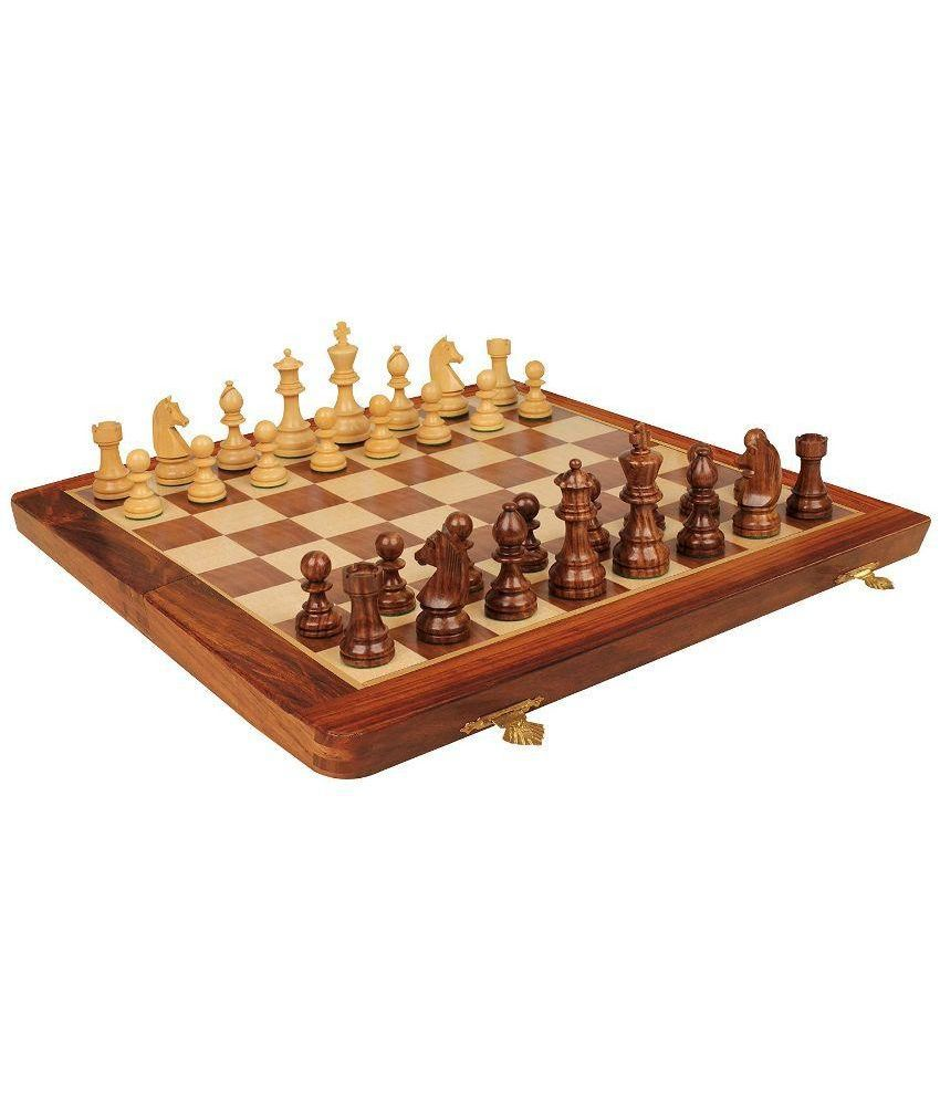 Desi Karigar Collectible Folding Wooden Chess Game Board Set 12 Inches with Magnetic Crafted Pieces