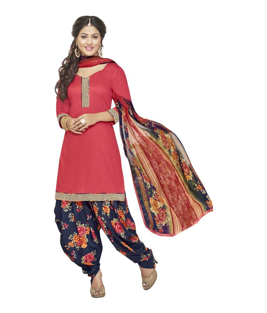 Manthan Pink Cotton Straight Unstitched Dress Material