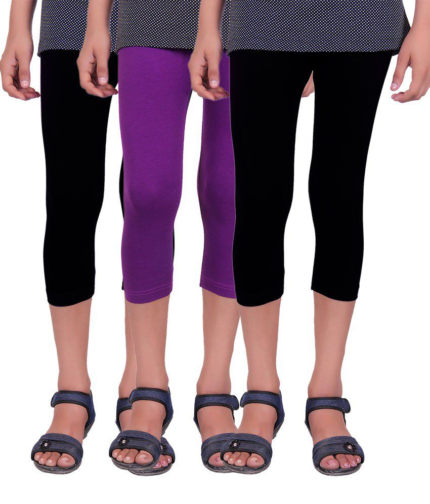 Alisha Black and Purple Cotton Lycra Capris (Pack of 3)