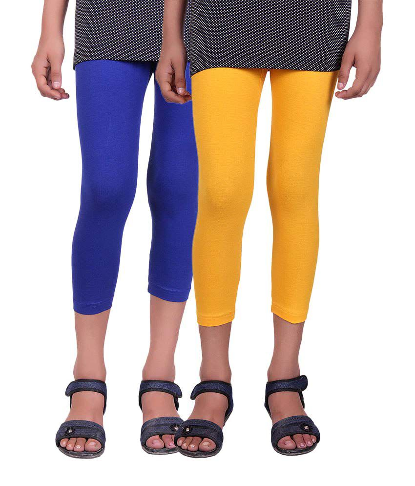 Alisha Blue and Yellow Cotton Capris (Pack of 2)