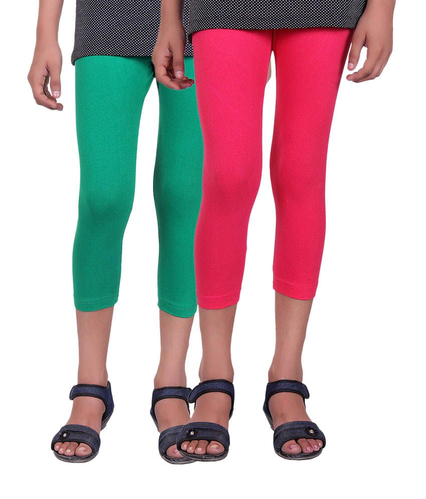 Alisha Green and Pink Cotton Capris (Pack of 2)