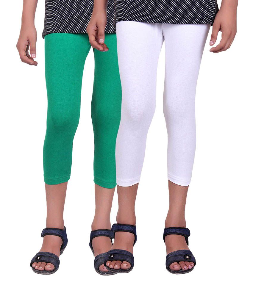 Alisha Green and White Cotton Capris (Pack of 2)