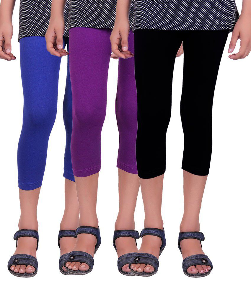 Alisha Multicolored Cotton Lycra Capris (Pack of 3)
