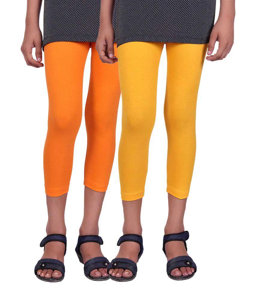 Alisha Orange and Yellow Cotton Capris (Pack of 2)