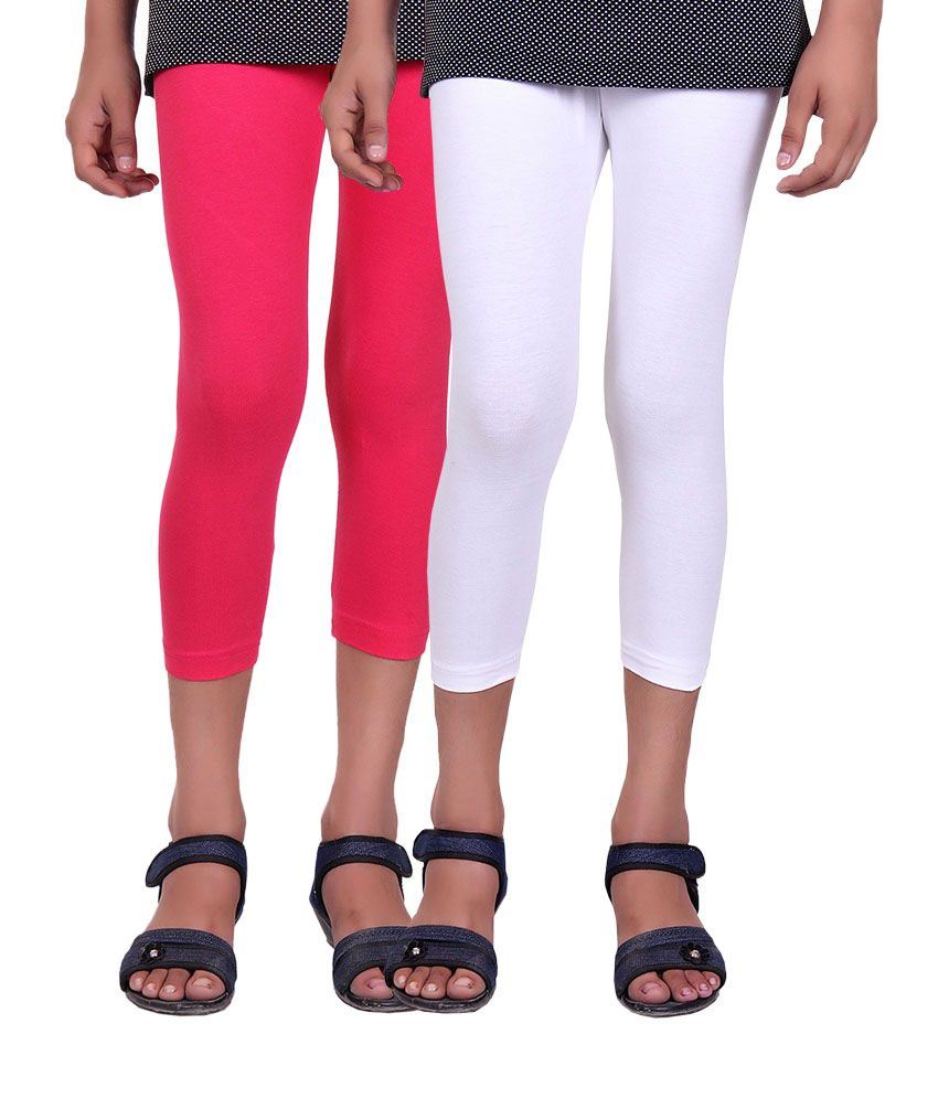 Alisha Pink and White Cotton Capris (Pack of 2)