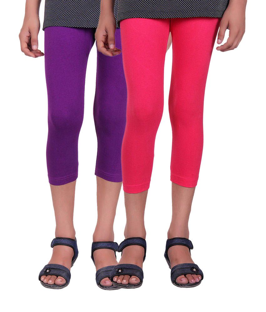 Alisha Purple and Pink Cotton Capris (Pack of 2)