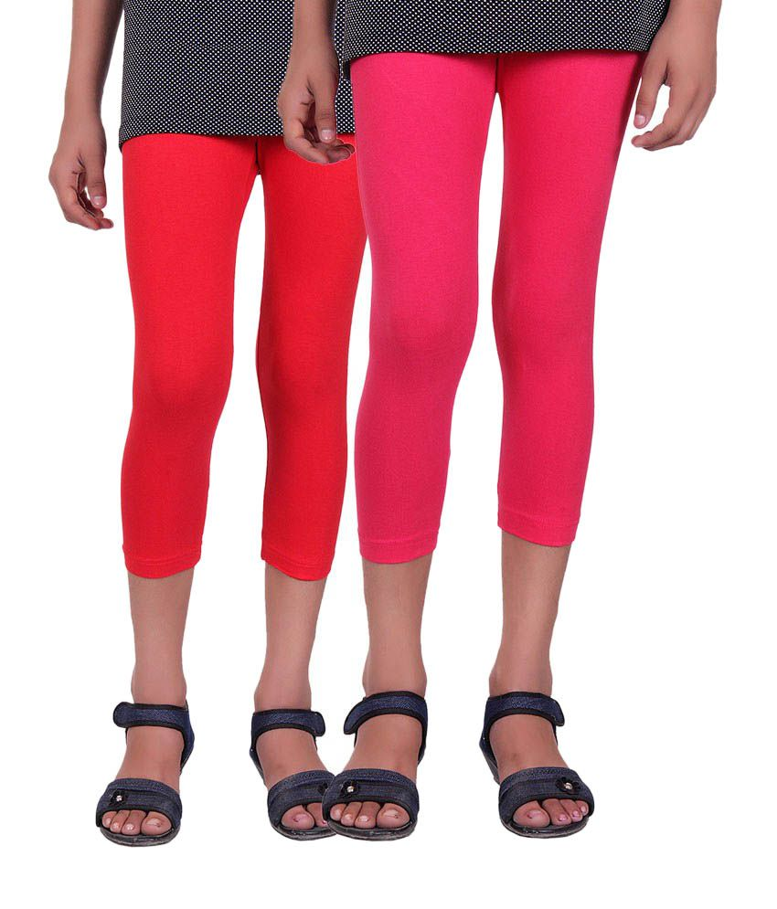 Alisha Red and Pink Cotton Capris (Pack of 2)