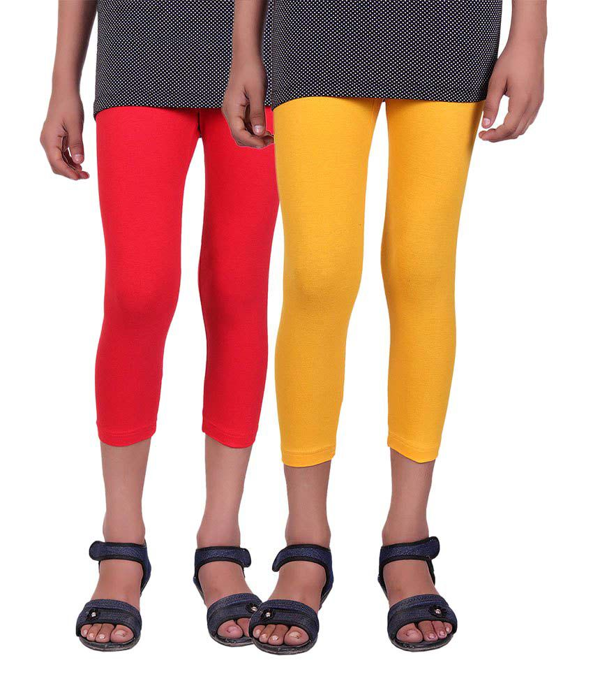 Alisha Red and Yellow Cotton Capris (Pack of 2)