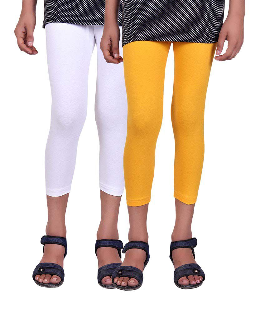 Alisha White and Yellow Cotton Capris (Pack of 2)