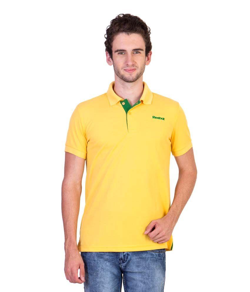 Reebok Yellow Polo T Shirts