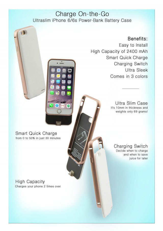detailed look 845fa 6c58e Attachments Ultra Slim Power bank Battery Case for iPhone 6/6s - Rose Gold