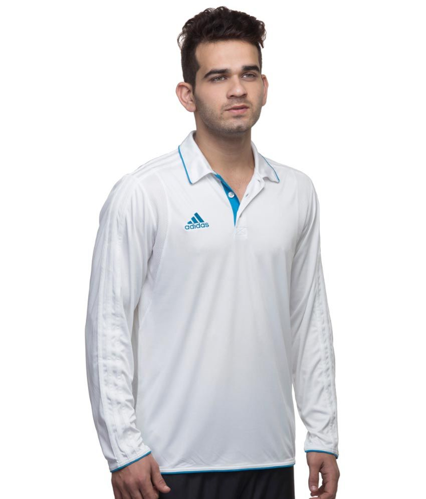 Adidas Cricket Perform White Polo T-Shirt
