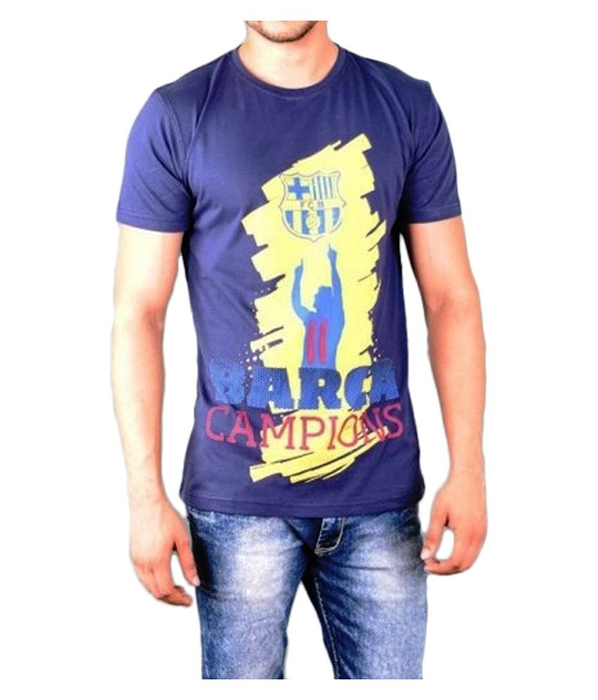 Barcelona T Shirt Mens Campions Round Neck