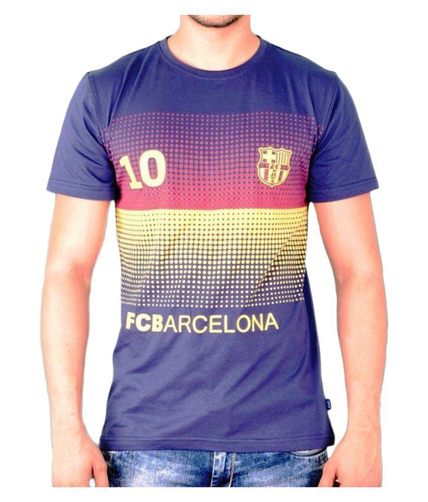 Barcelona T Shirt Mens Printed No.10 Round Neck