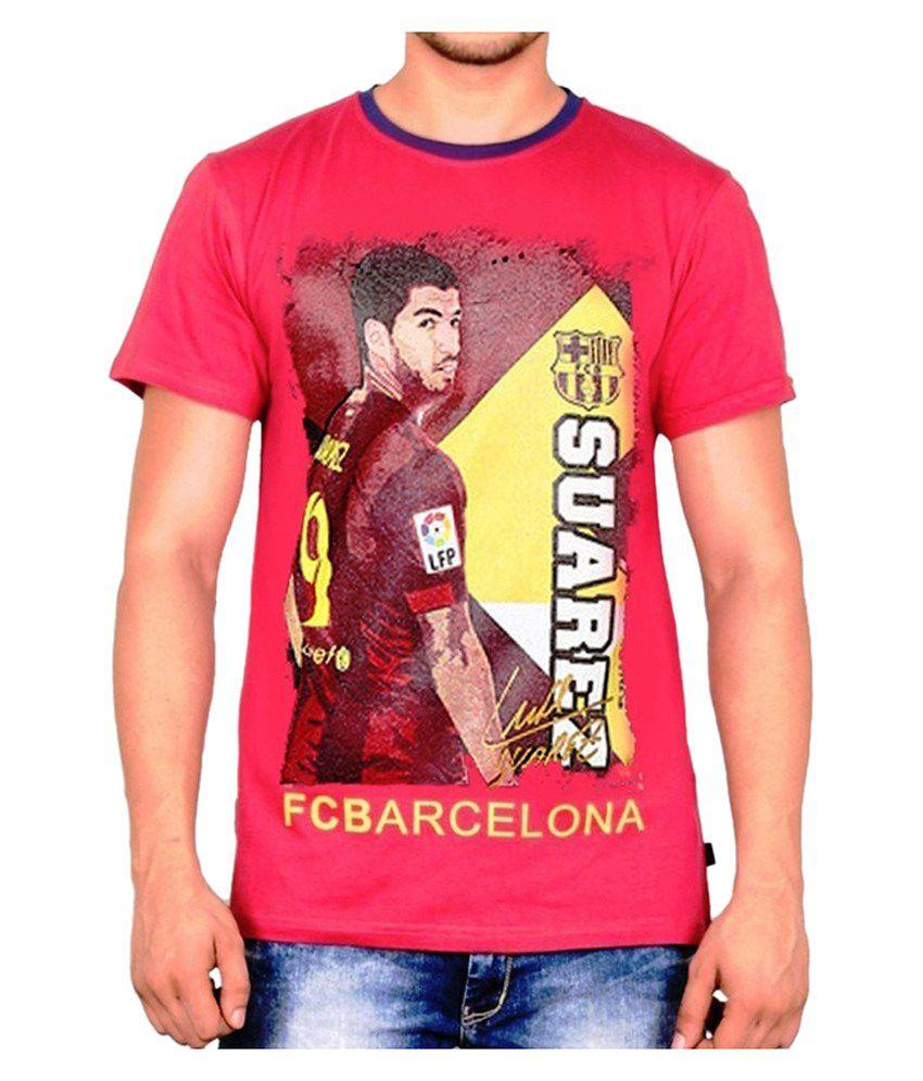 Barcelona T Shirt Mens Suarez Round Neck