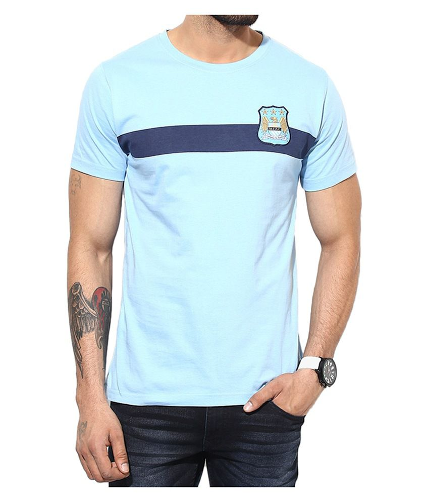 Manchester City F.C. T Shirt Mens Solid Round Neck
