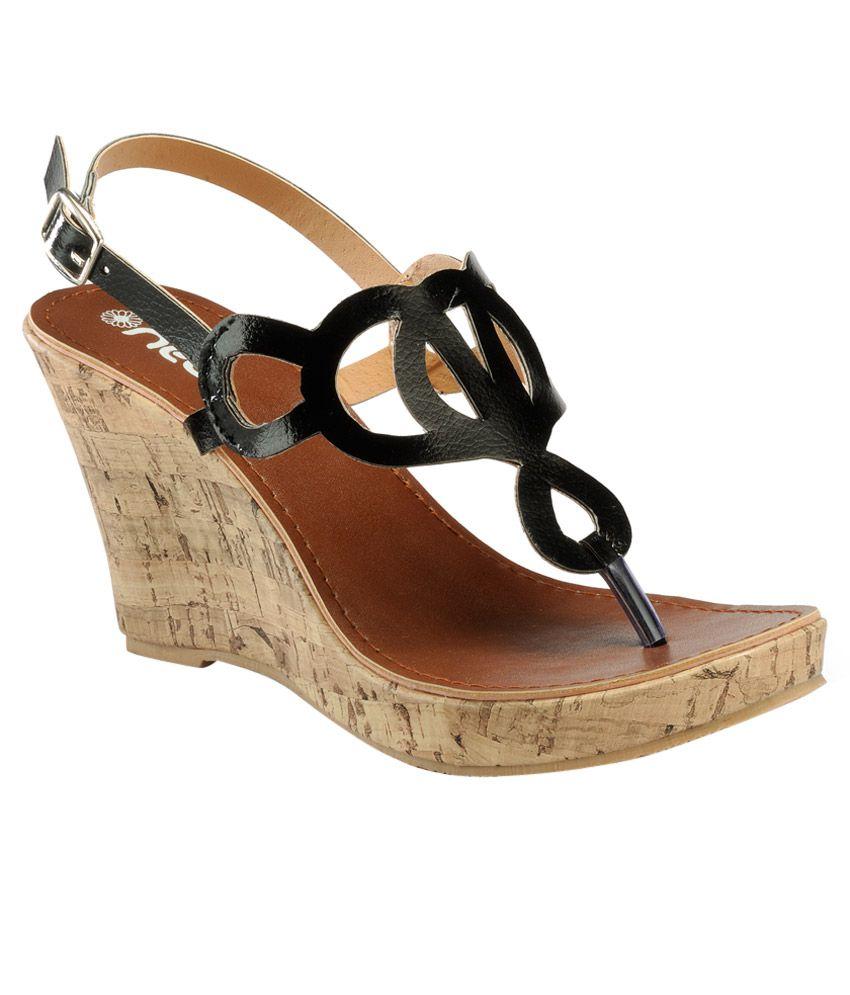 Nell Black Wedges Heels