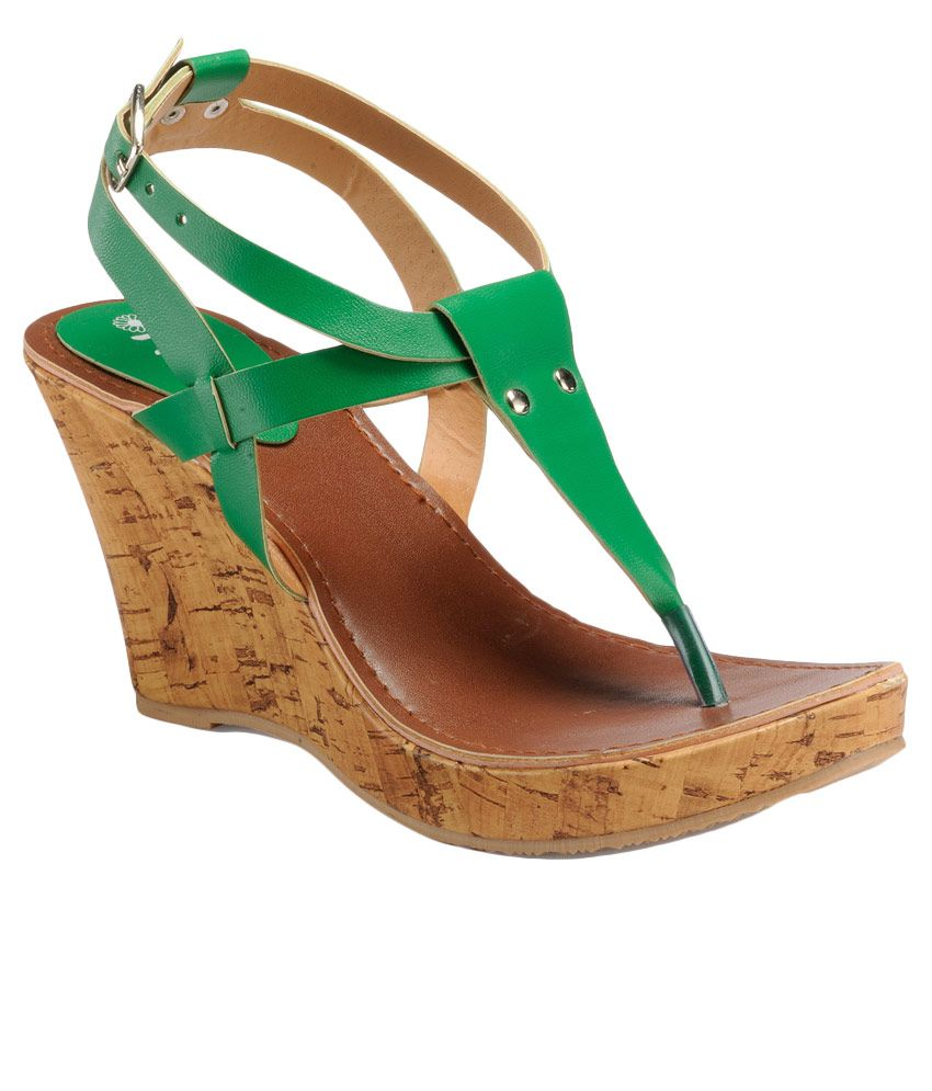 Nell Green Wedges Heels