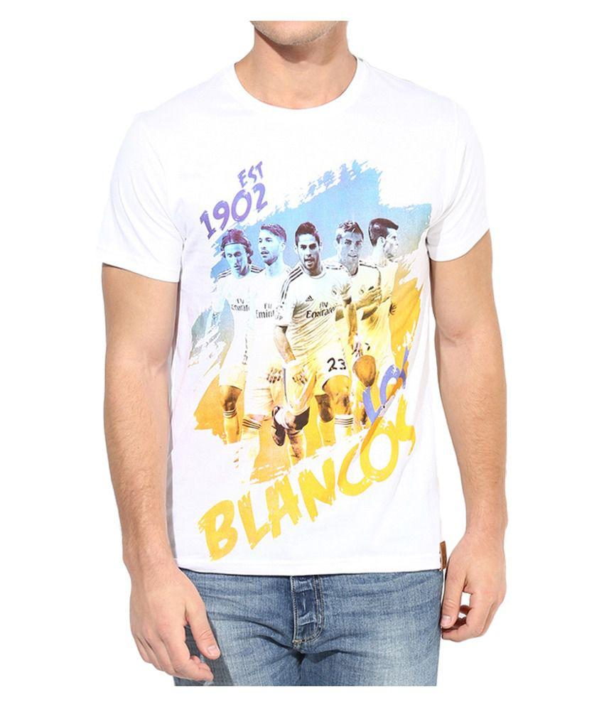Real Madrid F.C. T Shirt Mens Blancos Round Neck