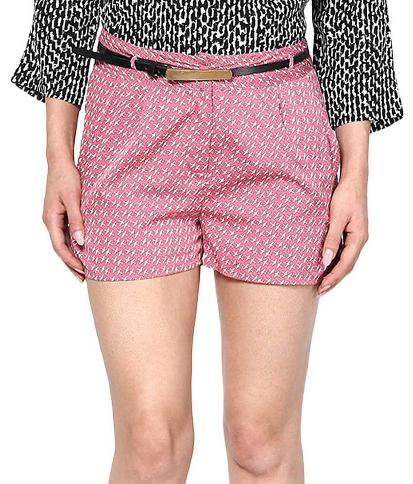 Vero Moda Pink Loose Fit Printed Shorts