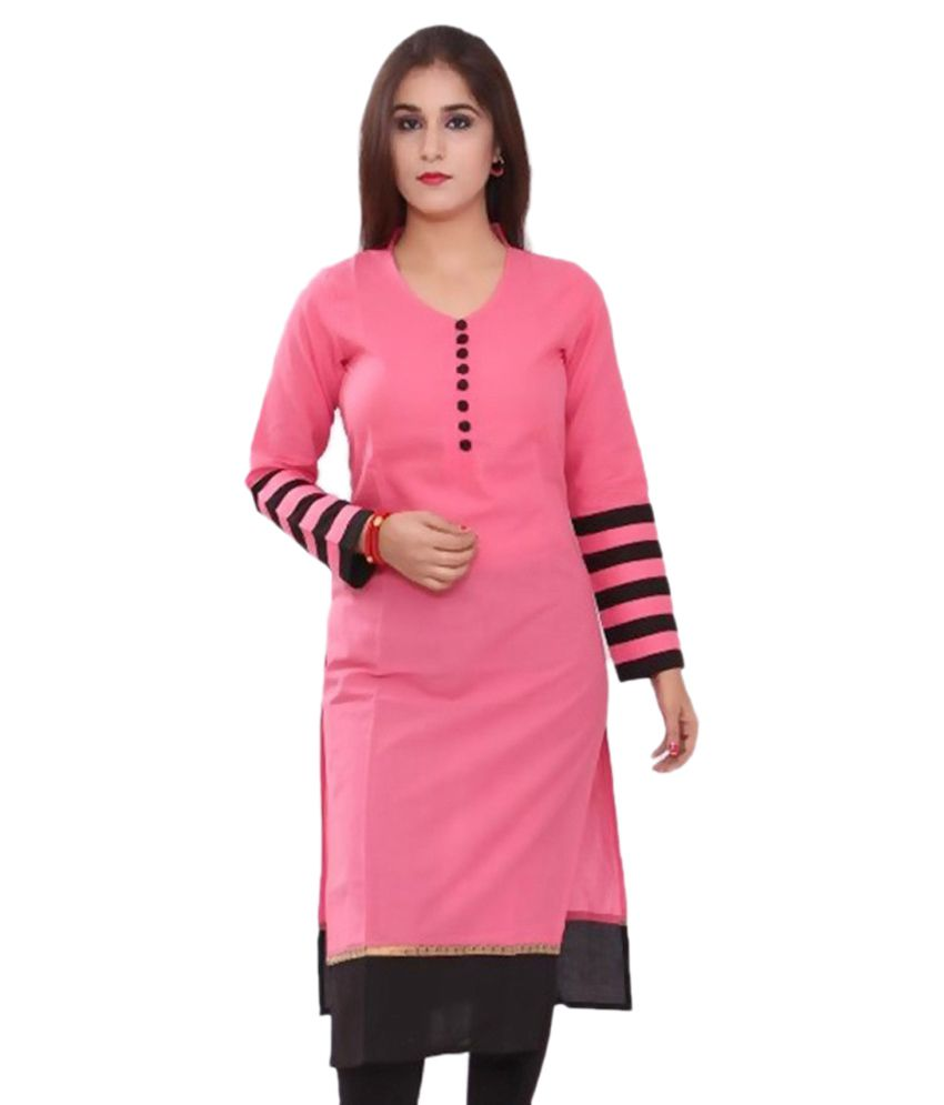 Vansh Fashion Pink Cotton Straight Kurti