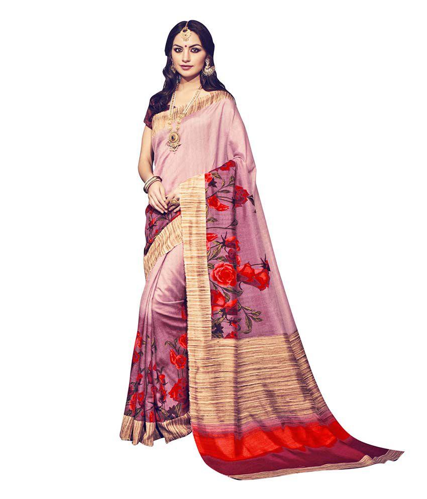 Varayu Pink Bhagalpuri Silk Saree