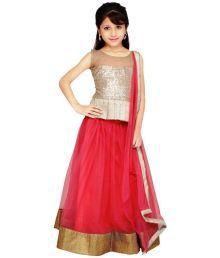 Najara Fashion Pink And Golden Net Lehenga
