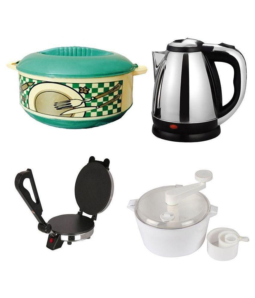 Black Cat Combo of Dough Maker ,1.8 Ltr Electric Kettle, Roti Maker & 1500ml Green Casserole