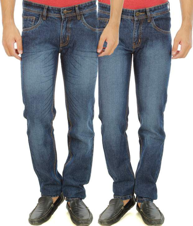 Stylox Blue Regular Fit Washed Jeans Pack of 2