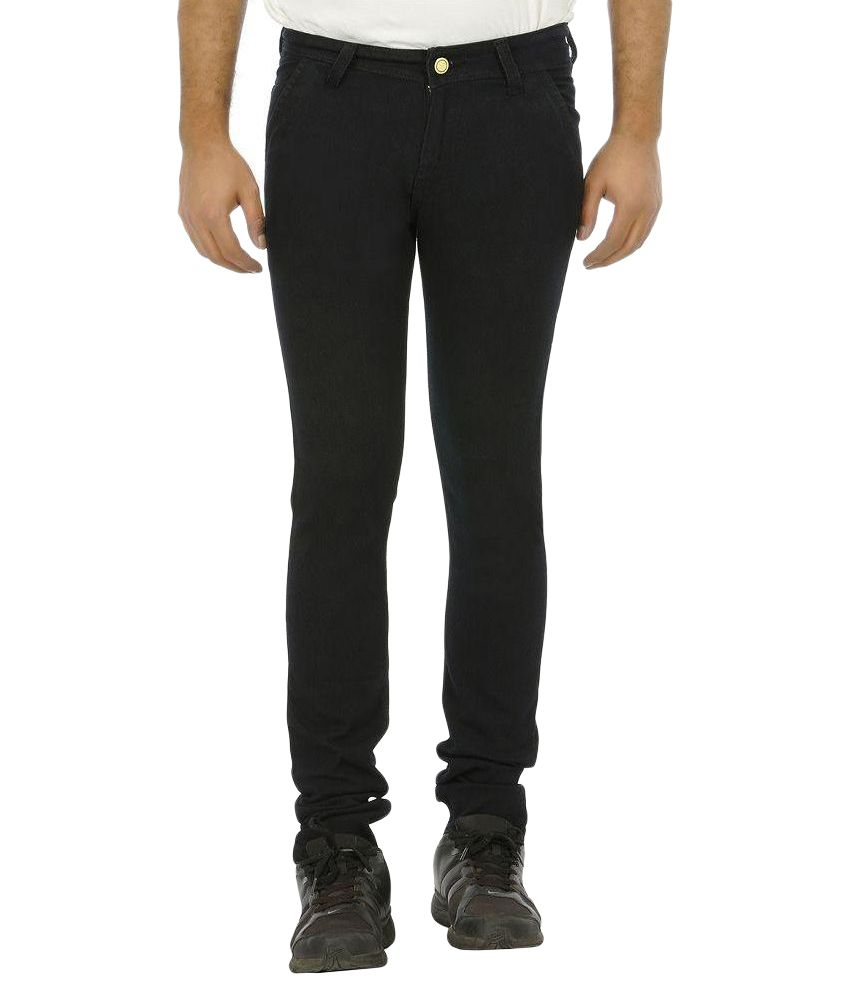 Urbano Fashion Black Slim Fit Solid Jeans
