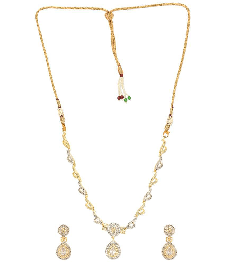 First Row White and Golden Alloy Necklace Set