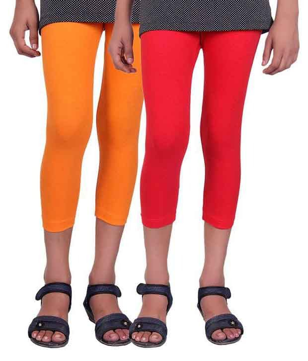Alisha Multicolour Cotton Lycra Capris for Girls – Pack of 2