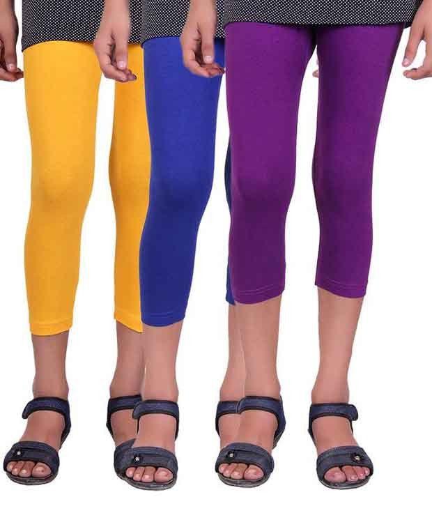 Alisha Multicolour Cotton Lycra Capris for Girls – Pack of 3
