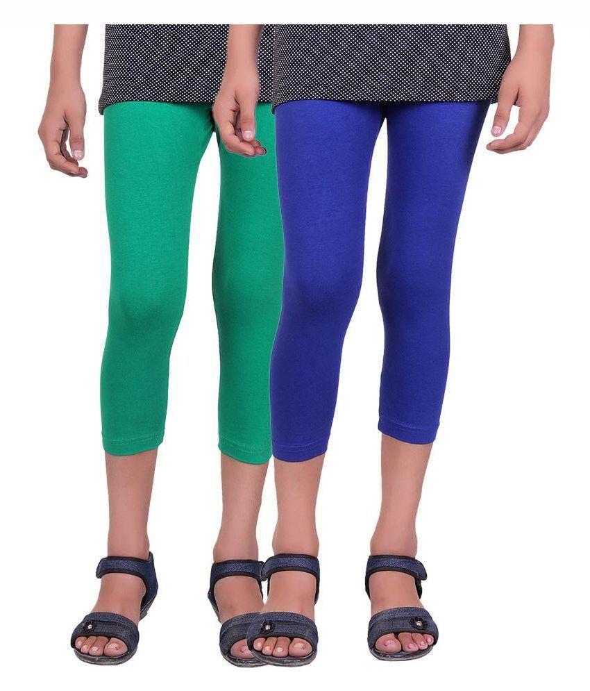 Alisha Multicolour Cotton Lycra Capris for Girls – Pack of 2