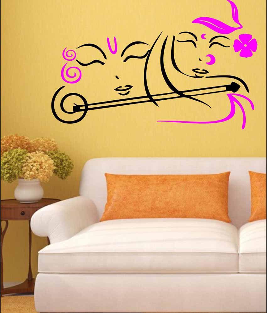 Eight2Ten Pink PVC Radhe Krishna Wall Sticker - Buy Eight2Ten Pink ...