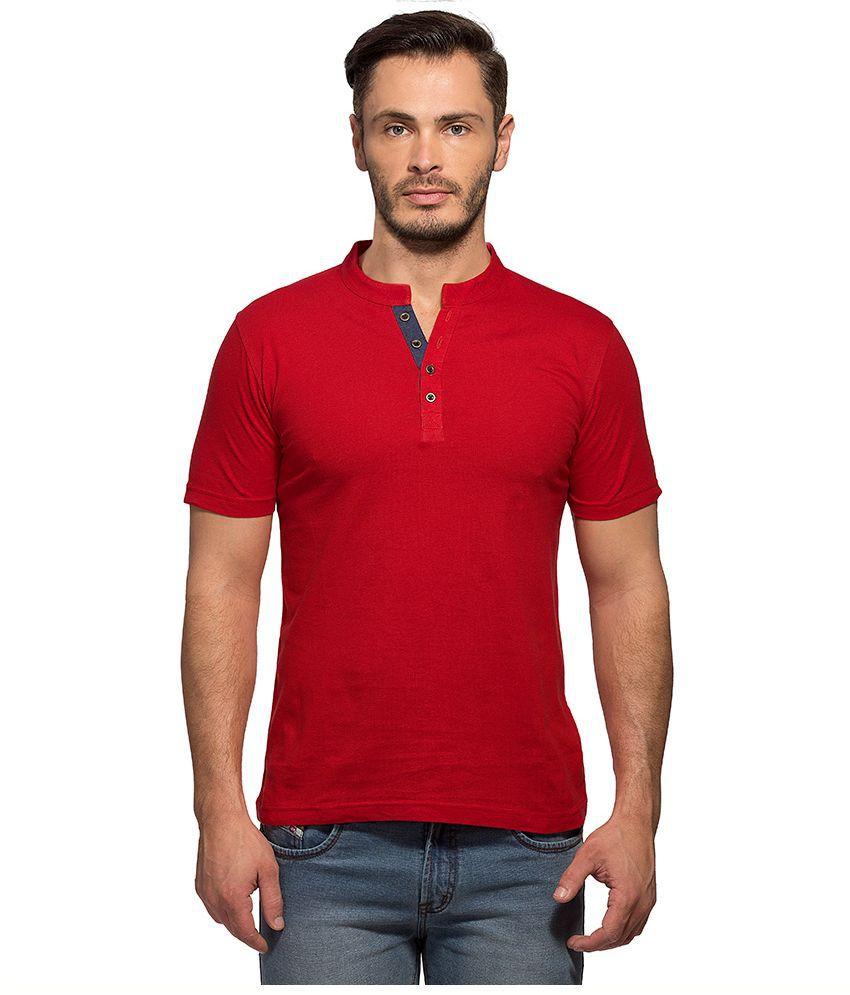 Maniac Red Henley T Shirt